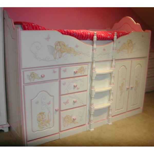 High Sleeper Cabin Bed Fancy with Full Artwork, Storage, Desk and Stool
