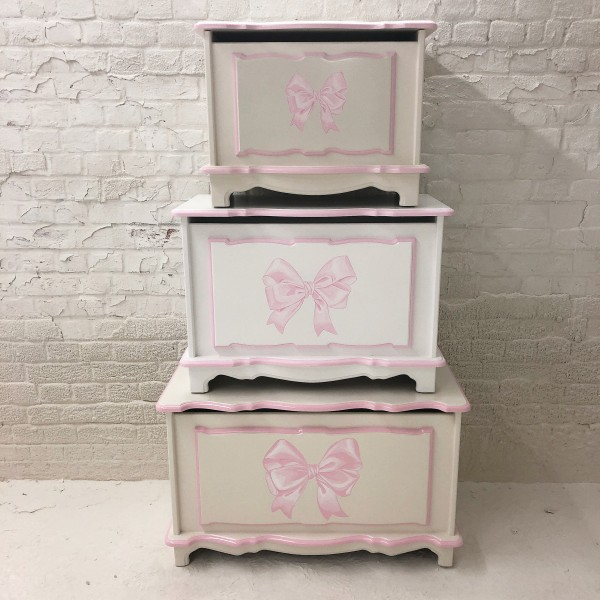 """Pink Bow Toybox 3ft or 2ft6"""" Size"""