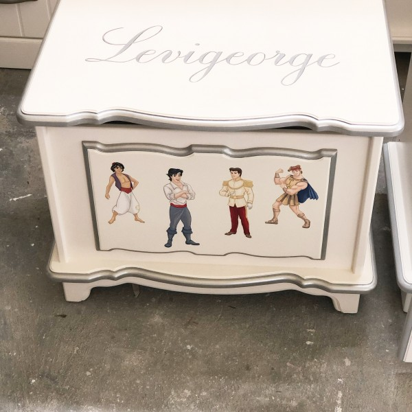 Small White & Silver Toybox Personalised with Princes