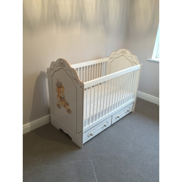 Cot With Hand Painted Royal Bear Artwork