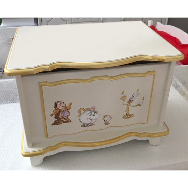 2ft Toy Box in Off White and Gold