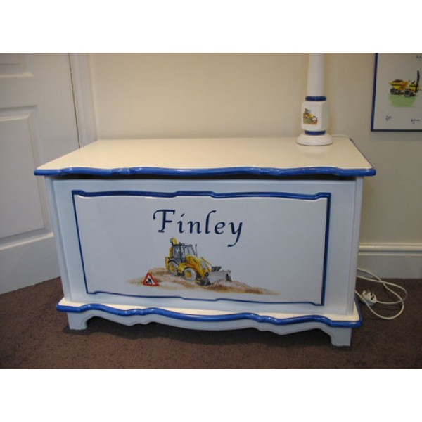 Toy Box 3ft Digger Art Personalised For Finley