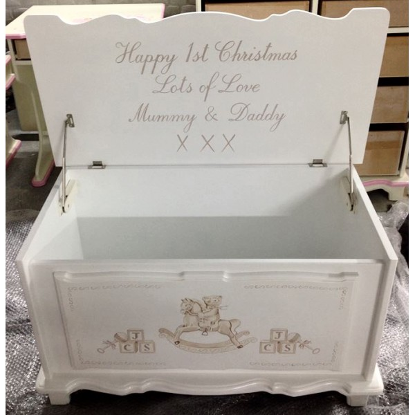 Personalised Toy Box With Message For Babies 1st Christmas