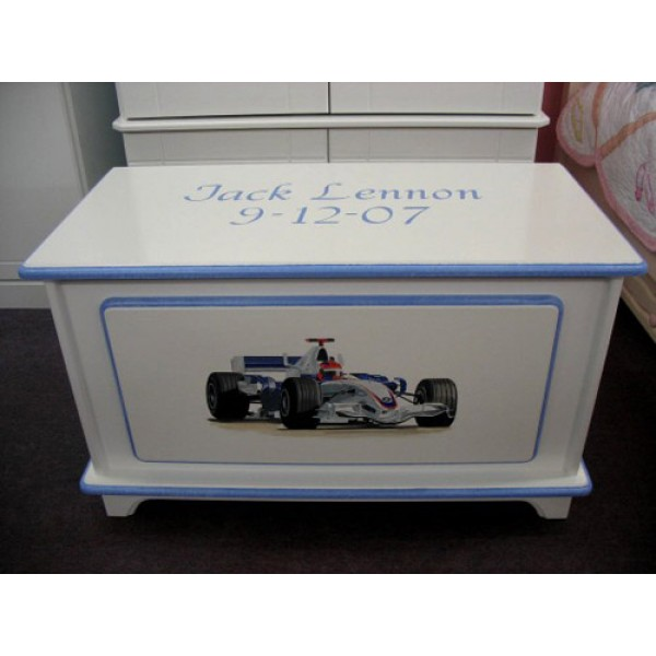 Toy Box Personalised With Date Of Birth And Car