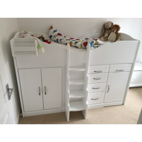 High Sleeper Cabin Bed With Graduated Ladder Storage